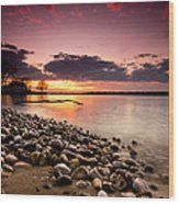 Sunset On The Rocks Wood Print by Cale Best