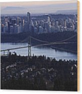 Sunset On Vancouver City Wood Print by Pierre Leclerc Photography