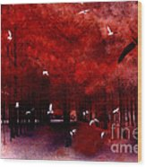 Surreal Fantasy Red Woodlands With Birds Seagull Wood Print by Kathy Fornal
