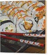 Sushi And Chopsticks Wood Print by Carolyn Marshall