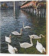 Swans Of The Chapel Bridge Wood Print by George Oze