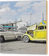Swap Meet Plymouth And Chevy  Wood Print by Steve McKinzie