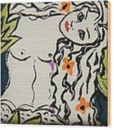 Sweet Mermaid Wood Print by Patricia Lazar