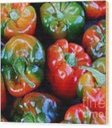 Sweet Peppers Wood Print by Guy Harnett