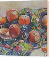 Tangerines Wood Print by Juliya Zhukova
