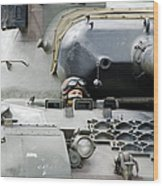 Tank Driver Of A Belgian Leopard 1a5 Wood Print by Luc De Jaeger