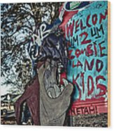 Taz Welcomes You To Zombie Land Wood Print by Pixel Perfect by Michael Moore