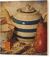Tea And Pear Wood Print by Toni Hopper