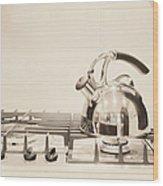 Tea Kettle On Stove Wood Print by Andersen Ross