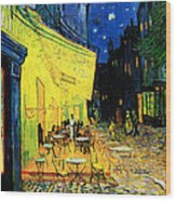 Terrace Of The Cafe On The Place Du Forum In Arles In The Evening Wood Print by Pg Reproductions