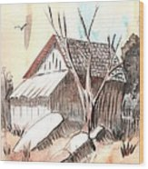 The Abandoned Woodshed Wood Print by Windy Mountain