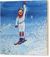 The Aerial Skier 15 Wood Print by Hanne Lore Koehler