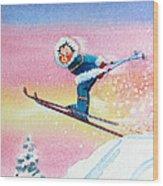 The Aerial Skier - 7 Wood Print by Hanne Lore Koehler