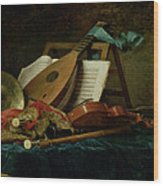 The Attributes Of Music Wood Print by Anne Vallaer-Coster