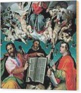 The Coronation Of The Virgin With Saints Luke Dominic And John The Evangelist Wood Print by Bartolomeo Passarotti