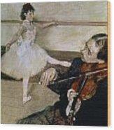 The Dance Lesson Wood Print by Edgar Degas