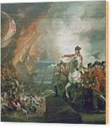 The Defeat Of The Floating Batteries At Gibraltar Wood Print by John Singleton Copley