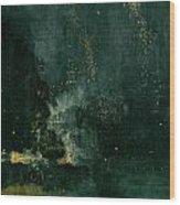 The Falling Rocket Wood Print by James Abbott Whistler