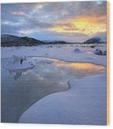 The Fjord Of Tjeldsundet In Troms Wood Print by Arild Heitmann