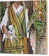 The Good Shephard At The Door Wood Print by Mindy Newman