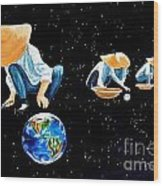The Grass Is Always Greener On The Other Side Of Uranus Wood Print by Pauline Ross