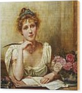The Letter Wood Print by George Goodwin Kilbourne