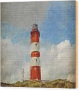 The Lighthouse Amrum Wood Print by Angela Doelling AD DESIGN Photo and PhotoArt
