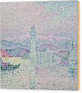 The Lighthouse At Antibes Wood Print by Paul Signac