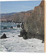 The Marin Headlands - California Shoreline - 5d19692 Wood Print by Wingsdomain Art and Photography