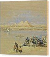 The Pyramids At Giza Near Cairo Wood Print by David Roberts