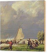 The Shipwreck Wood Print by Hermanus Koekkoek