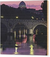 The Tiber River And The Dome Of St Wood Print by Richard Nowitz