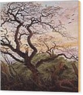 The Tree Of Crows Wood Print by Caspar David Friedrich
