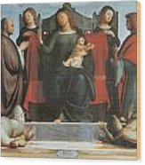 The Virgin And Child Enthroned Wood Print by Bramantino
