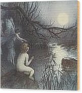 The Water Babies Wood Print by Warwick Goble