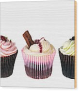 Three Cupcakes Wood Print by Jane Rix