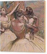 Three Dancers Wood Print by Edgar Degas