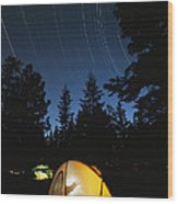 Time Exposure Of A Campers Tent Wood Print by Rich Reid