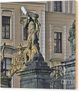 Titans Battling Outside Prague Castle Wood Print by Christine Till