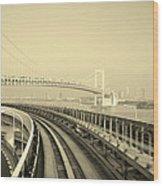 Tokyo Metro Ride Wood Print by Naxart Studio