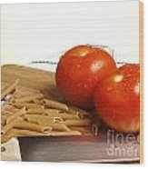 Tomatoes Pasta And Knife Wood Print by Blink Images
