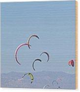 Torremolinos, Spain  Kite Surfing Wood Print by Ken Welsh