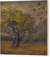Tree And Birds Wood Print by Svetlana Sewell