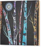 Trees And Moon Wood Print by Karla Gerard