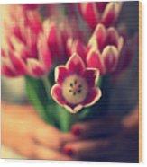 Tulips In Woman Hands Wood Print by Photo by Ira Heuvelman-Dobrolyubova
