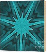 Turquoise Star Wood Print by Marsha Heiken