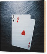 Two Aces Playing Cards On Stainless Steel. Wood Print by Ballyscanlon
