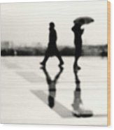 Two Men In Rain With Their Reflections Wood Print by Nadia Draoui