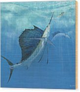 Two Of A Kind Sailfish Wood Print by Kevin Brant