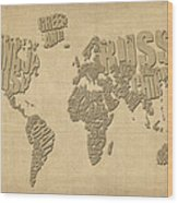 Typographic Text Map Of The World Wood Print by Michael Tompsett